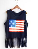 European New USA Stars Stripes Printed T Shirt Lady Tassel Sleeveless T-shirt  9103 black and white