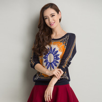 Brand 2014 Hot Sale Women Autumn Winter Fashion Long Sleeve Thick Knitted Sweater Novelty Sunflower Printed Pullover