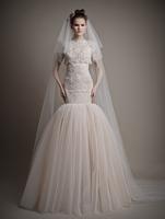 New Arrival Vestido Noiva Scoop Neck Short Sleeve Embroidery Lace Mermaid Wedding Dresses 2015 ATL35