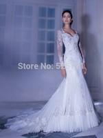 Hot Sale V Neck Long Sleeve Lace Wedding Dresses Mermaid 2014 Organza Women Bridal Gowns Open Back