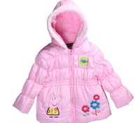 Retail Free shipping Hot Sale Spring Autumn girls jacket,Peppa Pig hooded jacket,girl cartoon jacket with 4 colors
