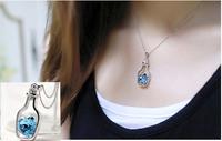 Fashion Austria crystal Drift bottle Earrings Necklace - love bottle sets Jewelry Accessories Wholesale PN029