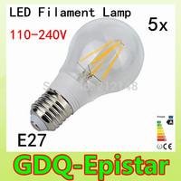 5x Energy saving E27 4W 8W Led Filament Light Bulb 360 Degree white,warm white lamp bulbs for home/indoor/kitchen AC110-240V