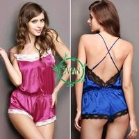 New Sexy Women Satin Lace Robe Sleepwear Lingerie Nightdress one-piece Pajamas