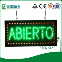 Wholesale high quality  led ABIERTO neon letter open sign/ DC12V acrylic flashing sign /9*19inch mini window sign
