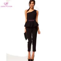 2014 New Fashion Black One-shoulder Sexy Women Jumpsuits Ruffles Plus Size Women's Clothing S M L XL XXL XXXL