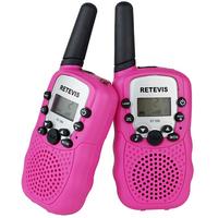 2pcs Pink Walkie Talkie T-388 UHF 462.550-467.7125MHz 0.5W 22CH For Kid Children LCD Display Flashlight VOX Two-Way Radio