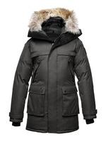 real fur coat for men's down jackets winter outdoor clothing overcoat ATESY Long Parka Crosshatch