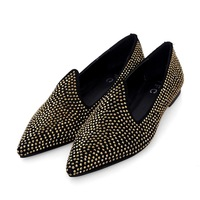 Best selling flats, England star rhinestones pointy shoes fall flat-bottomed woman club shoe