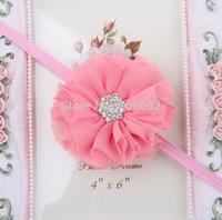 Free shipping Crystal Centered Shabby chiffon flower Children's flower Headbands Hairbands Baby girls Floral headbands hairbands