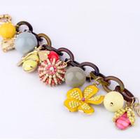 New Honeybee Flower Vintage Jewelry Magnetic Women Alloy Bracelets Flower Charm Handmade Fashion Bangles