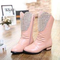 2014 winter female child thermal children shoes boots rhinestone princess cotton boots medium-leg boots snow boots