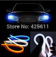 car styling 2X60cm White+Yellow Flexible Headlight Daytime Lamp Switchback Strip Angel Eye DRL Decorative Light With Turn Signal