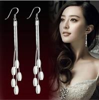 30 % 925 Silver Bling Earing Hook Earrings Drop Women Long Tassel Design Fashion Jewellery Accessories Bridal Wedding Party