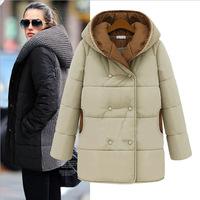 New  Fashion Parkas Winter women medium-long cotton coat plus size XXXL thickening outerwear jackets women desigual coat