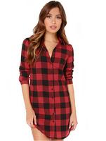2015 New Fashion women's British style red Plaid shirt casual full sleeve summer ladys New Arrivel coat shirt dress Plus Size