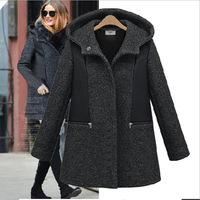 Large size  women warm winter hooded wool coat slim women's wool  Size XL-XXXXL parka women coat winter coat women woollen coat