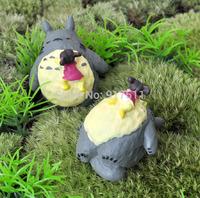 mini morld totoro with girl ZAKKA 3D simulation resin doll Mosses Micro Landscape Bonsai Aquarium Decoration DIY material
