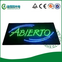Wholesale 12*24inch rectangle LED ABIERTO neon letter acrylic sign/Spanish open sign/business time adverting animaltional sign