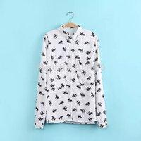 Free shipping Elephant pattern printed shirt long-sleeved shirt bottoming shirt female