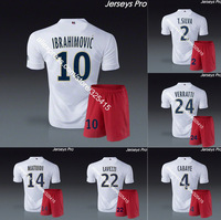 2014 Paris away white soccer jerseys football short uniforms socks shirts ibrahimovic silva motta verratti cabaye lucas matuidi