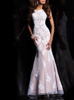 Tulle Fabric vestido formatura 100% Beading Hand Work Long Lace Gown OL102473