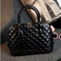New fashion black women handbag shoulder bag plaid shell girl lady tote European vintage cross-body women messenger bags