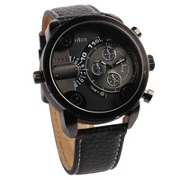 Special Forces Military Men Quartz Watches High Quality Pu Strap Alloy Case Big Dial Oulm Brand Wristwatches