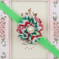 Free shipping Crystal & pearls Centered Chiffon Chevron Flower Children's fashion headbands Kids zigzag floral hairbands