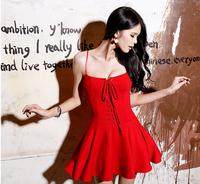 New Ladies' Elegant sexy summer sling strap Dress red Vintage casual slim fit party evening designer dress designer dress women