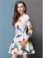 Korean Fashionable Bird Print Empire Waistline women clothing  O-Neck Figuring A-Line Dresses