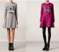 Fall Winter New Fashion Tigers Head Embroidery Long Sleeve Sweater Fleece Slim Waist Dress Solid Color KZ Quality Free shipping
