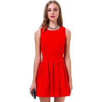 Sexy new dresses 2015 Red Women vestidos Backless Pleated Slim Bodycon Party prom casual Mini wedding Dress muslim