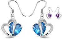 Platinum plated heart-shaped crystal earrings Full CZ Love Heart earring For Wedding Party Women Jewelry