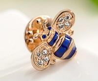 3pcs Italina Regent jewelry Alloy plating K gold Austria crystal Clothes pin brooch cute lovely small Bee