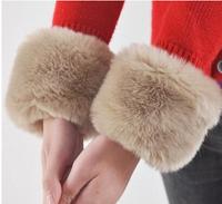 womens wristband cuff rabbit fur arm warmers for women