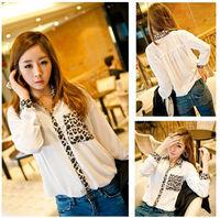 2015 New Women's new placket sleeve pocket leopard splicing chiffon long sleeve shirt