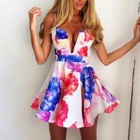 Free shipping v neck strap flower print dress women sexy evening party dresses vestidos femininos vestidos de fiesta
