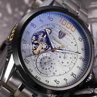 2014 brand full steel military watches men automatic self-wind relogios watch mechanical fashion luxury watch tourbillon clock