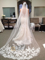 2014 White Ivory Beautiful Cathedral Length Lace Edge Wedding Bridal Veil Comb White Beautiful Wedding Accessories