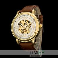 Gold Vintage Men's Mechanical Skeleton Hand Wind Watch Mens Dress Watches