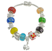 Free shipping!!!Brass European Bracelet,Sexy Jewelry, with Lampwork, silver color plated, mixed colors, nickel