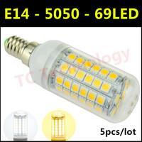 Hot 2014 Ultrabright E14 SMD 5050 LED Lamp 15W AC 220V-240V 69LED Warm White/White Corn Bulb For Christmas Lights 5pcs/lot