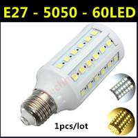2014 High brightness energy-saving LED Lamp SMD 5050 E27 12W 60LED AC 110V-220V Warm White/White Corn Bulb Christmas Lights