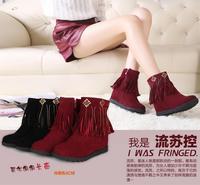 2014 autumn and winter boots female tassel rhinestone  fashion snow  boots