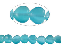 Free shipping!!!Cats Eye Jewelry Beads,personality, Heart, blue, 10x10x4.50mm, Hole:Approx 1mm, Length:14.4 Inch, 10Strands/Bag