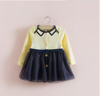 IDEA English Stype Long Sleeve newborn infant baby dresses kids wear princess baby girls dress baby clothing 2 color