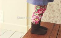 Retail girls skinny flower printed cotton leggings kids fashion legging with fur inside skinny pants