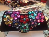 2014 New Custom Women multicolor Rhinestone Clutch Heart flowers shaped Crystal Evening Bag Party Wedding Handbag Purse