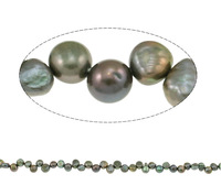 Free shipping!!!Freshwater Pearl,Luxury, Nuggets, green, 5-6mm, Hole:Approx 0.8mm, Length:Approx 15.7 Inch, Sold By Strand